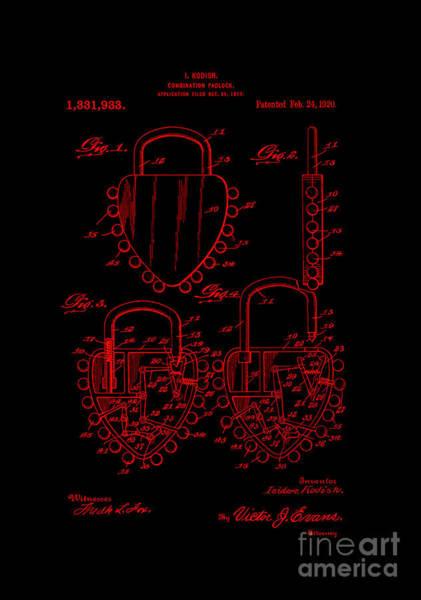 Digital Art - Patent Art 1920 Kodish Combination Padlock Red by Lesa Fine