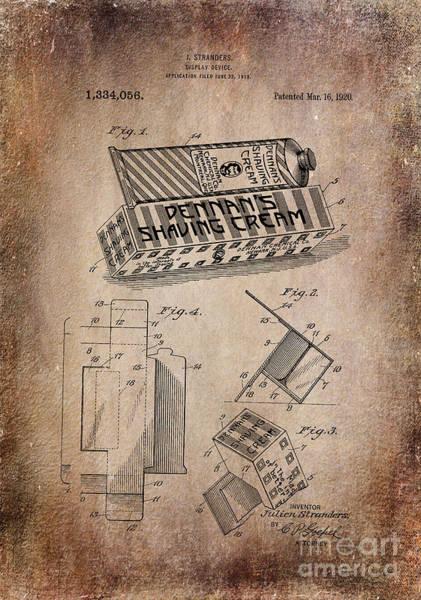 Photograph - Patent Art 1920 Shaving Cream Display Antiqued by Lesa Fine