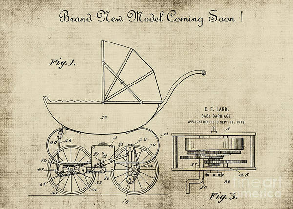 Digital Art - Patent Art Baby Carriage 1920 Invite 2 by Lesa Fine