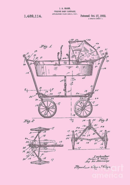Patent Art Baby Carriage 1922 Mahr Design Pink Art Print