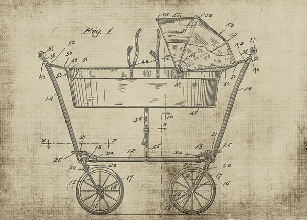 Digital Art - Patent Art Baby Carriage 1922 Mahr Yellow by Lesa Fine
