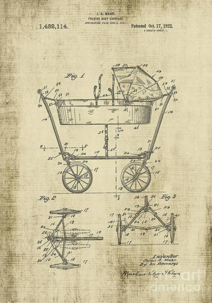Digital Art - Patent Art Baby Carriage 1922 Yellow by Lesa Fine