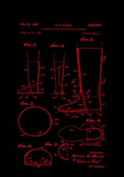 Digital Art - Patent Art Footware Boots -red by Lesa Fine