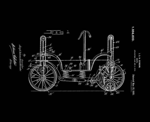 Digital Art - Patent Art Guindon 1920 Roller Skates Bw by Lesa Fine