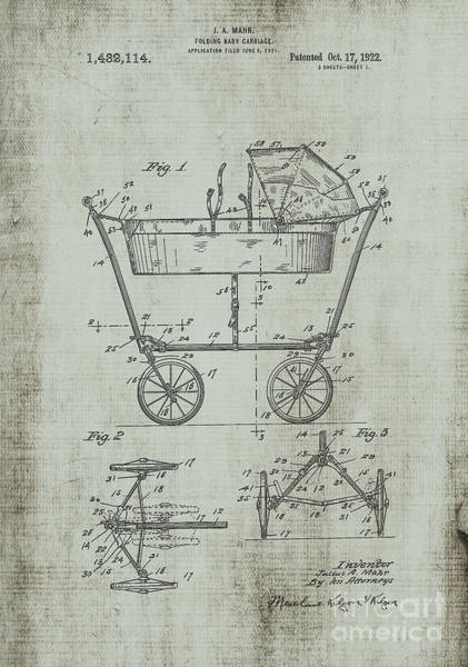 Digital Art - Patent Art Mahr Baby Carriage 1922 Green by Lesa Fine