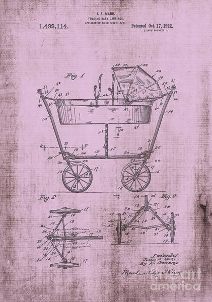 Digital Art - Patent Art Mahr Baby Carriage 1922 Pink by Lesa Fine
