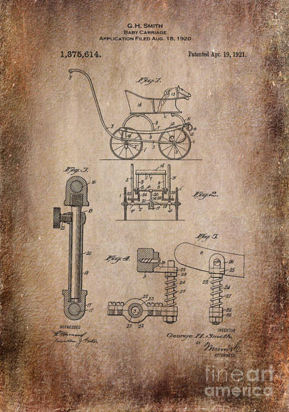 Digital Art - Patent Baby Carriage 1921 Smith Aged by Lesa Fine
