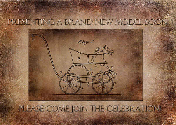 Digital Art - Patent Baby Carriage 1921 Smith Aged New Model by Lesa Fine