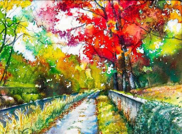 Delaware Painting - Path By The Delaware Canal by Patricia Allingham Carlson