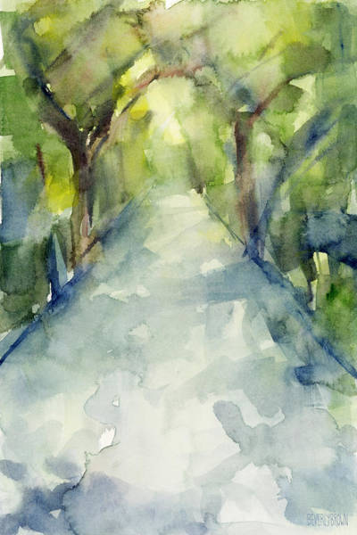 Greens Painting - Path Conservatory Garden Central Park Watercolor Painting by Beverly Brown