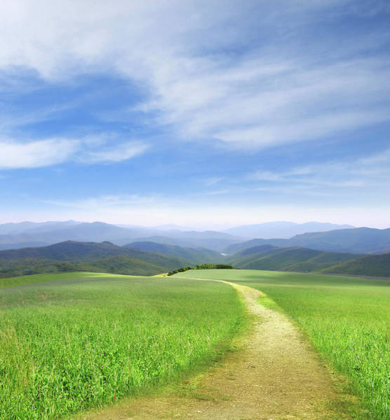 Remote Digital Art - Path Through Field Leading To Distant by Ryan Etter