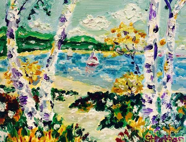 Impressionistic Sailboats Painting - Path To Lake Charlevoix by Julie Stratton