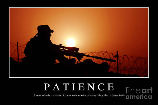 Sharpshooter Wall Art - Photograph - Patience Inspirational Quote by Stocktrek Images