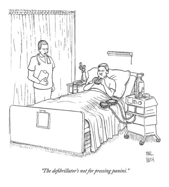 Sandwiches Drawing - Patient Eating Sandwich In Hospital Bed by Paul Noth