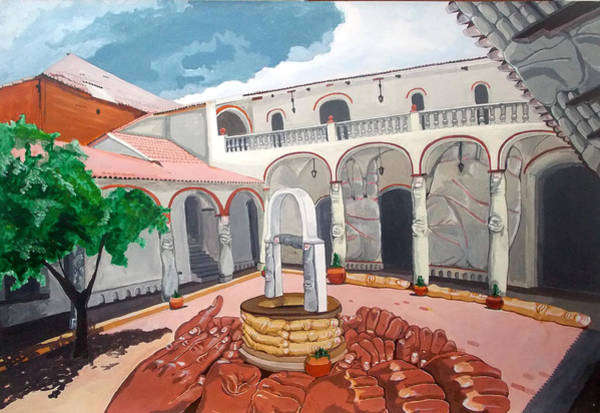 Wall Art - Painting - Patio Colonial by Lazaro Hurtado