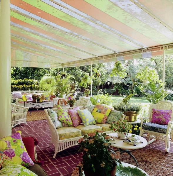 Coffee Table Photograph - Patio Of Lilly Pulitzer's House by Horst P. Horst