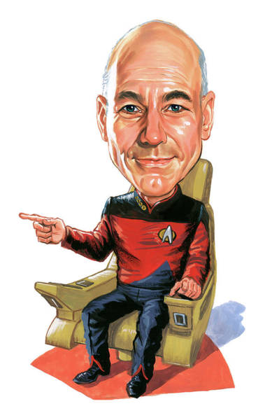 Marvelous Wall Art - Painting - Patrick Stewart As Jean-luc Picard by Art