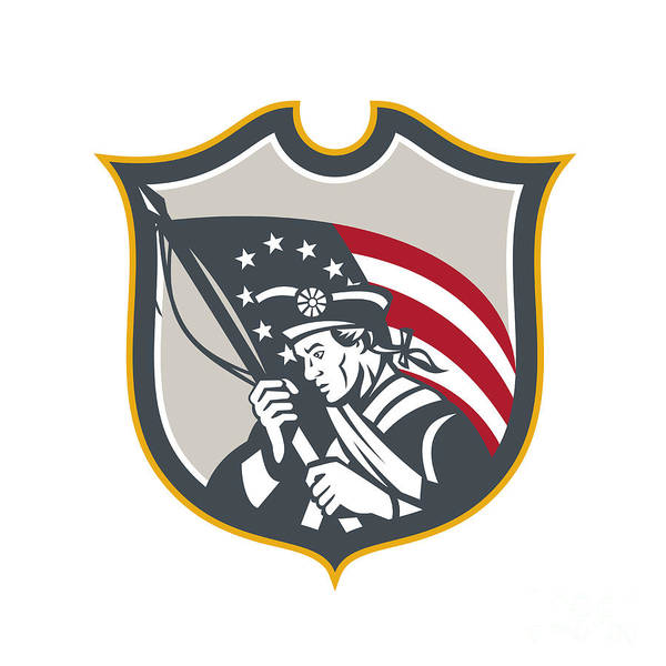 Ross Digital Art - Patriot Holding American Flag Shield Retro by Aloysius Patrimonio