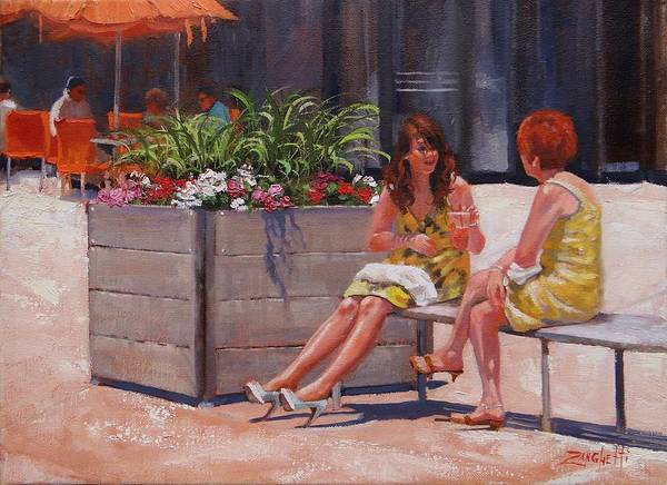Wall Art - Painting - Patriot Place Sunning by Laura Lee Zanghetti