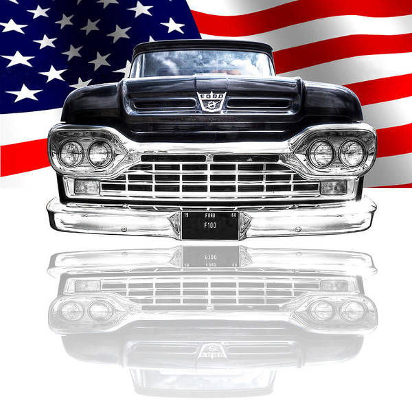 Photograph - Patriotic Ford F100 1960 by Gill Billington