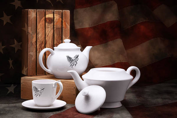 Saucer Photograph - Patriotic Pottery Still Life by Tom Mc Nemar