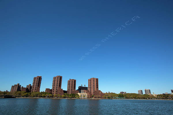 Standup Paddleboard Photograph - Patriotic Skywriting Over Waterfront by Ryan Salm Photography
