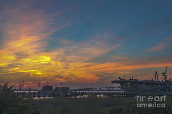Photograph - Patriots Point Sunset by Dale Powell