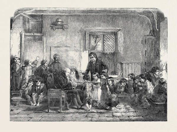 Wall Art - Drawing - Patron And Patronesss Visit To The Village School by Thomas Faed (1826-1900), Scottish