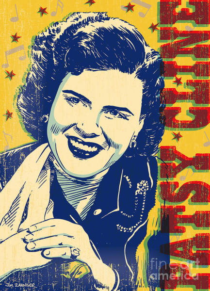 50s Wall Art - Digital Art - Patsy Cline Pop Art by Jim Zahniser
