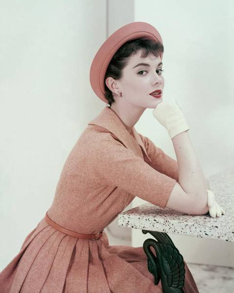 Short Cut Photograph - Patsy Shalley In An Orange Tweed Dress by Frances McLaughlin-Gill