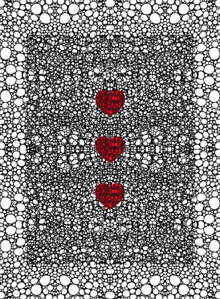 3d Painting - Pattern 34 - Heart Art - Black And White Exquisite Patterns By Sharon Cummings by Sharon Cummings