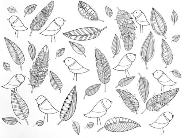 Colours Drawing - Pattern Bird Feathers by MGL Meiklejohn Graphics Licensing