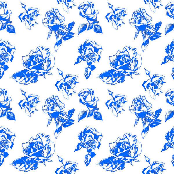 Digital Art - Pattern Blue Rose On A White Background by Hanna Furs