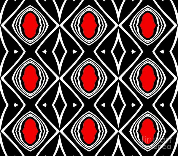 Digital Art - Pattern Geometric Black White Red Art No.391. by Drinka Mercep