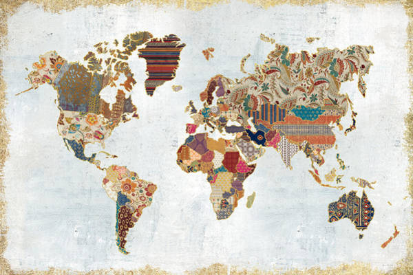 Wall Art - Painting - Pattern World Map by Laura Marshall