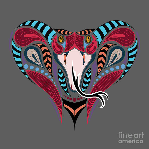 Bite Wall Art - Digital Art - Patterned Colored Head Of The King by Sunny Whale