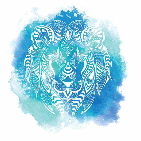Amulet Digital Art - Patterned Colored Head Of The Lion by Sunny Whale