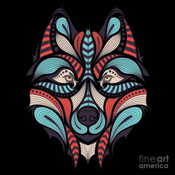 Tradition Wall Art - Digital Art - Patterned Colored Head Of The Wolf by Sunny Whale