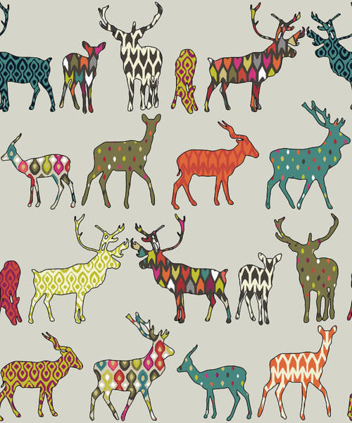 Wall Art - Painting - Patterned Deer Stone Pattern by MGL Meiklejohn Graphics Licensing