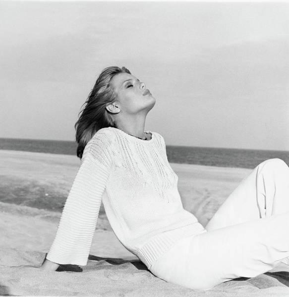 Rowan Photograph - Patti Hansen Wearing A Sweater And Matching Pants by Francesco Scavullo
