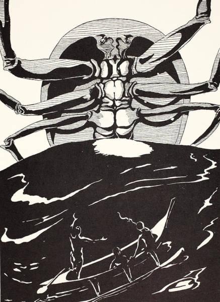 Black Magic Drawing - Pau Amma The Crab Rising Out Of The Sea As Tall As The Smoke Of Three Volcanoes by Joseph Rudyard Kipling