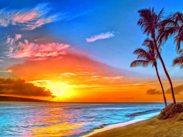 Kona Painting - Pau Hana Sunset Maui by Dominic Piperata