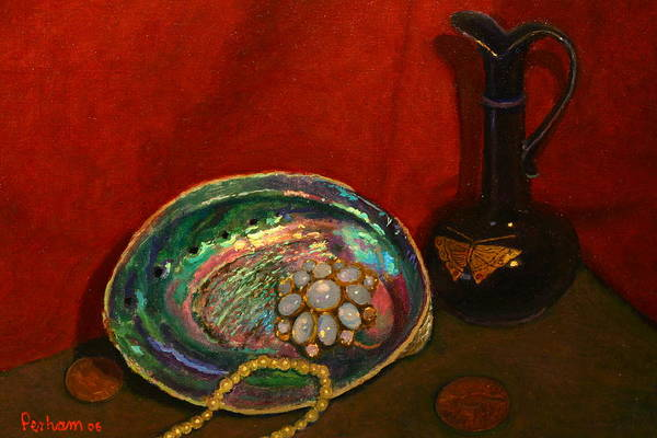 Nz.impressionist Painting - Paua And Butterfly Vase by Terry Perham