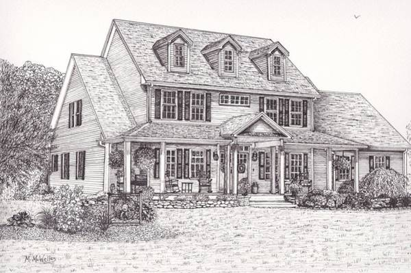 Front Porch Drawing - Paul And Debbie's House by Michelle Welles