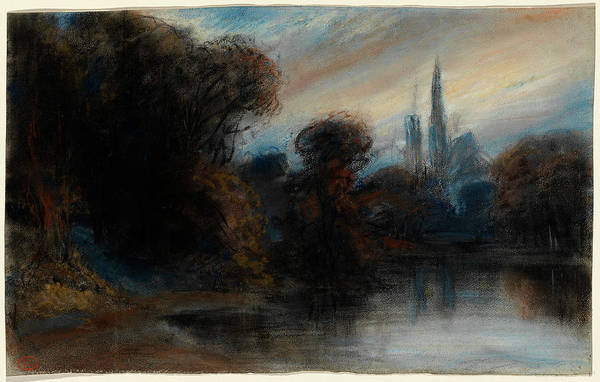 Twilight Drawing - Paul Huet, French 1803-1869, An Abbey By A Wooded Lake by Litz Collection