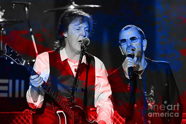 Ringo Star Mixed Media - Paul Mccartney And Ringo Star Painting by Marvin Blaine
