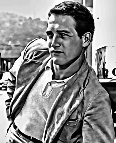 Painting - Paul Newman Portrait by Florian Rodarte