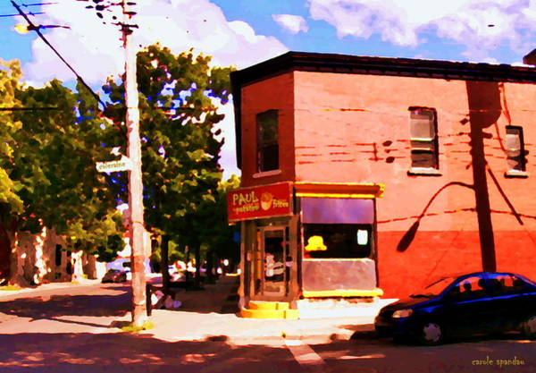 Diners Club Painting - Paul Patate Pointe St Charles South West Montreal Autumn Street Scene Carole Spandau by Carole Spandau