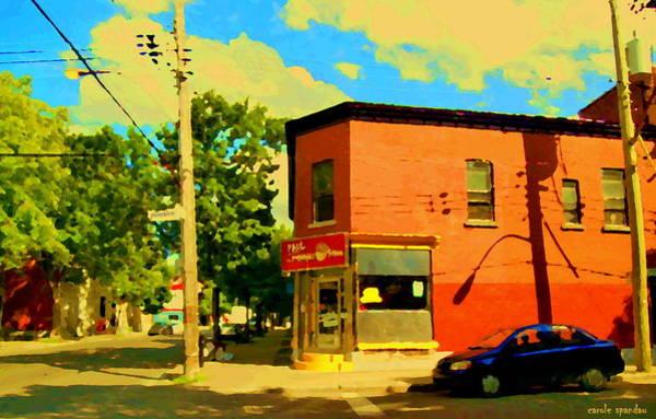 Diners Club Painting - Paul Patate Restaurant Pointe St Charles Sunny Summer Street Scene Montreal Art Carole Spandau  by Carole Spandau