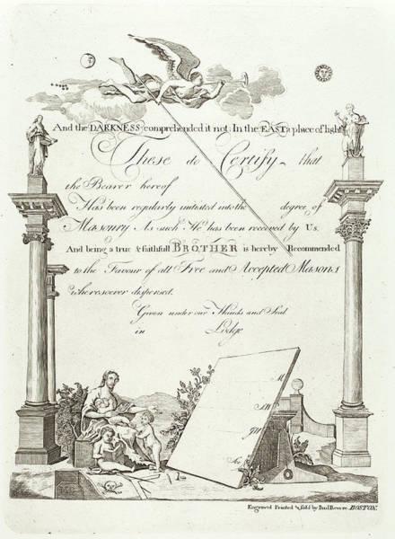 Wall Art - Drawing - Paul Revere, Masonic Certificate, American by Quint Lox
